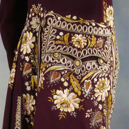 Detail of a 1780s court coat embroidered with flowers & grasses in silk, highlighted with sequins & spangles