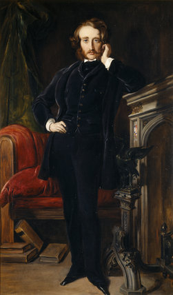 EDWARD BULWER LYTTON, 1st Baron Lytton (1803-73) after Daniel Maclise, R.A. (1806-70) at Hughenden Manor in the Garden Hall.