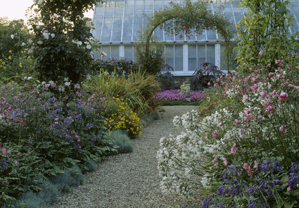 The Orangery in the garden at Peckover House used to display a wide range of flowering pot plants and three orange trees; in front is a metal arch for climbing roses