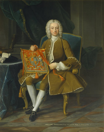 JOHN, LORD HERVEY HOLDING PURSE OF OFFICE AS LORD PRIVY SEAL 1741 by J B Van Loo
