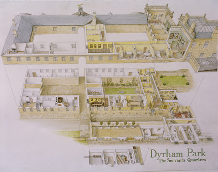 Painting showing an exploded view of the Servants Quarters at Dyrham Park illustrating the uses of the various rooms, an inner garden and courtyard
