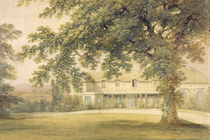 A watercolour of Holnicote House in the late 18th century with the south cross-wing added and a large oak tree in the foreground