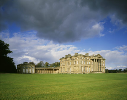 Attingham Park, view across the lawn to the front entrance of the hall, seen under a stormy summer sky