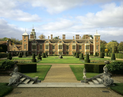 View across the Parterre garden at Blickling with topiary towards the East Front