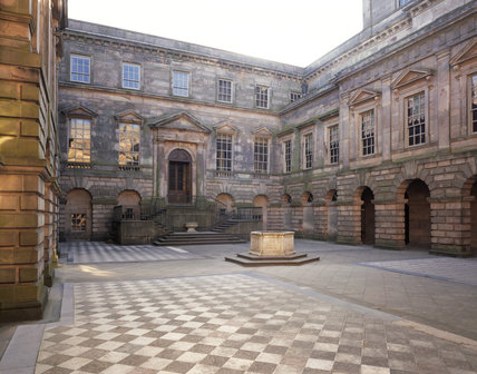 The Palladian courtyard at Lyme Park, designed by Giacomo Leoni and built 1727-1734, paving laid 1738