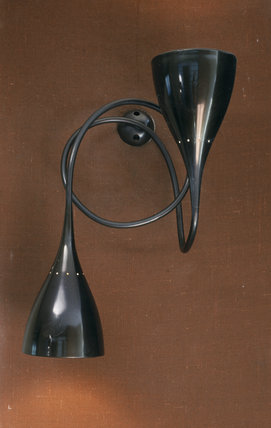 Close view of the tulip-shaped light fittings designed by Patrick Gwynne for The Homewood