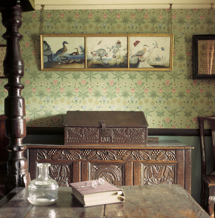Close view of section of Beatrix Potter's bedroom at Hill Top Sawrey, showing a section of William Morris' 'Daisy Pattern