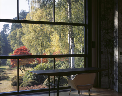 View of the garden in Autumn from the Living Room, one of the main rooms on the first floor of The Homewood, built in 1938 by the architect Patrick Gwynne
