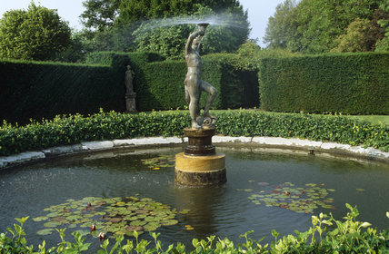 The Pond Garden at Lytes Cary Manor with statue/fountain and water lilies