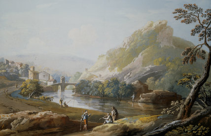 A VIEW ON THE ROAD FROM ROME TO LORETO by Giovanni Battista Lusiere