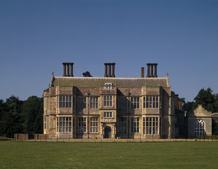 The South Front of Felbrigg Hall, with its extraordinary disparity of fabric, stands in the springtime sun