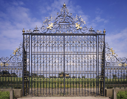 The grand wrought iron screen found at the end of the canal at Erddig