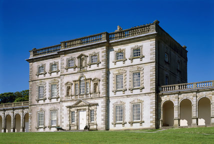 The East Front of Florence Court, a mainly mid-18th century house built by John Cole, is decorated with arcades & pavilions which were completed by his son William Willoughby