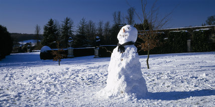 Snowman on West Lawn at Polesden Lacey, Surrey