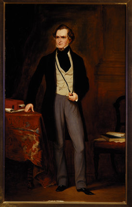 EDWARD STANLEY, 14th Earl of Derby (1799-1869) by Jane Hawkins, after Sir Francis Grant, P.R.A. (1803-78) at Hughenden Manor in the Garden Hall.