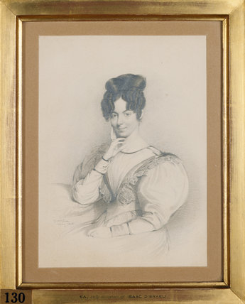 SARAH D'ISRAELI, Disraeli's sister (d. 1859) by Daniel Maclise, R.A. May 1828 at Hughenden Manor in the Disraeli Room.