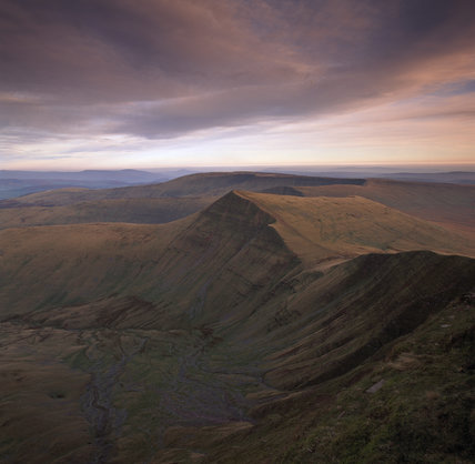 View of Cribyn from the summit of Pen Y Fan in the Brecon Beacons