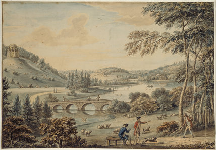 A VIEW OF THE GARDEN AT STOURHEAD, WILTSHIRE, THE TEMPLE OF APOLLO, THE PALLADIAN BRIDGE AND THE PANTHEON (1775) by Coplestone Warre Bampflyde (1719-91)