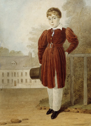 WILLIAM FITZWILLIAM LENNOX-CONYNGHAM STANDING IN FRONT OF SPRINGHILL IN THE 1830S