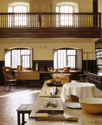 The kitchen at Dunham Massey, looking south towards the kitchen court and showing the inspection gallery