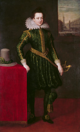 A YOUNG NOBLEMAN, a portrait c.1620, said to be of the fifth Baron Paget,(1609-78) by Leandro Bassano, (1558-1623) at Plas Newydd, after conservation.