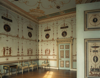 The Etruscan Dressing Room at Osterley Park was designed by Adam and painted by Pietro Maria Borgnis on sheets of paper which were then pasted on canvas and fixed to the ceiling and walls