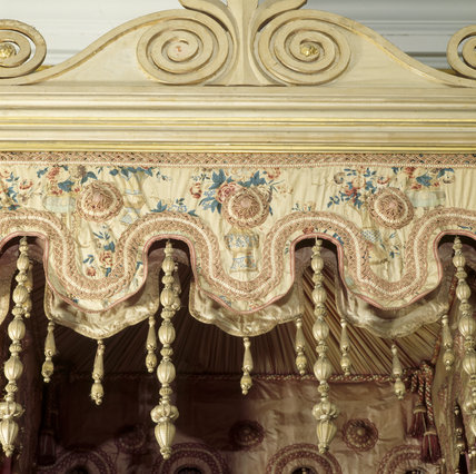 The Chinese bedroom at Belton House; detail of the tester above the bed, made from embroidered silk