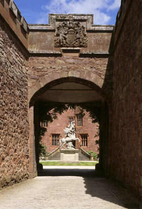 View of the Courtyard at Powis Castle taken through the archway