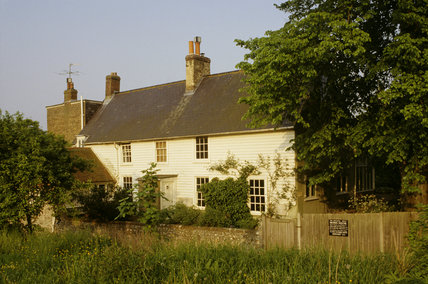 Monk's House, the former home of Leonard and Virginia Woolf, photographed from the lane in the village of Rodmell, East Sussex