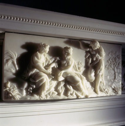 Detail of the white marble fireplace, by John Deval the Younger (1785)