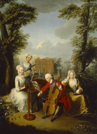 FREDERICK, PRINCE OF WALES (1707-51) AND HIS SISTERS MAKING MUSIC AT KEW c.1733 by Philippe Mercier 1689-1760