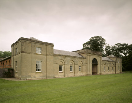 The handsome Stable block from the south at Attingham Park, designed by Steuart, provided housing for 56 horses
