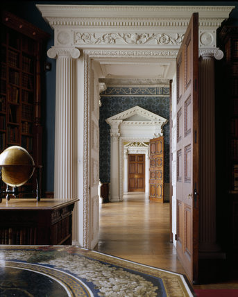 Partial view of Library door showing view through the Saloon and through further open door into North Hall