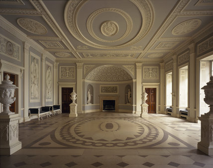 Room view of the Entrance Hall at Osterley Park, designed by Robert Adam in 1767 and has stucco decoration by the firm of Joseph Rose and grisaille paintings by Giovanni Battista Cipriani