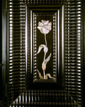 Close-up of mother of pearl inlay on the ebony cabinet at The Argory