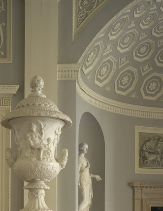 A close-up of the urn and north apse of the Entrance Hall at Osterley Park