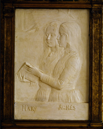 Framed plaster relief of 'Mary and Agnes' by George Frampton 1860-1928 in the Staircase Hall
