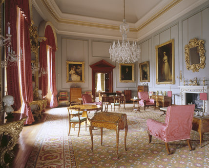 Room view of the Drawing Room at Ickworth from the north east corner towards door showing the chandelier and Hervey portraits, rosewood armchairs, wilton carpet & table with floral marquetry
