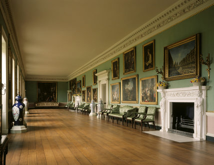 Room view of the Long Gallery at Osterley Park showing flowers on the mantelpiece
