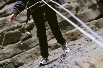 Rock climbing at Stackpole during a family Safari
