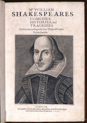 Engraved portrait of William Shakespeare, from the Second Folio, London, (1632) printed by Tho.Cotes for Robert Allot, in the Library at Charlecote Park. Consult the Librarian before using.