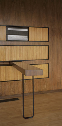 The central section of the tripartite wall units in the Living Room at The Homewood with the Bang & Olufson Hi-Fi & built-in serving table/bar supported on its singular tubular metal leg