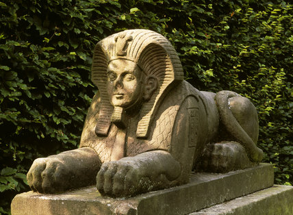 One of the stone sphinxes guarding a hidden court in the 'Egypt' garden at Biddulph Grange