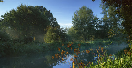 View at dawn of Walsham Lock, Ripley, Surrey, on the River Wey Navigations