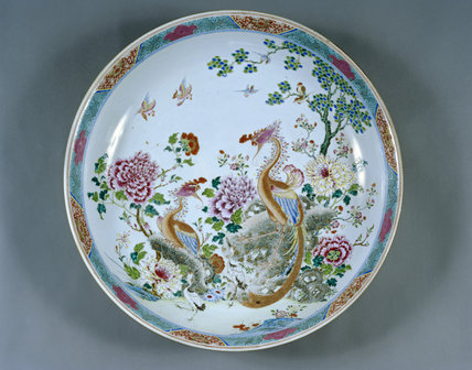 A dish, one of the pieces of Chinese porcelain captured by Captain (later Admiral) Sir Hyde Parker 5th Bt off Manila in October 1762, in the Library at Melford Hall