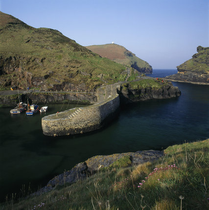 Looking towards the sea from sheltered Boscastle Harbour