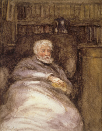 PORTRAIT OF CARLYLE IN HIS OLD AGE by Helen Allingham, watercolour at Carlyle's House, London