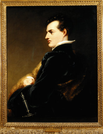 GEORGE GORDON BYRON, 6th BARON BYRON (1788-1824) by R. Westall, R.A. (1765-1836), 1813 at Hughenden Manor in the Entrance Hall.