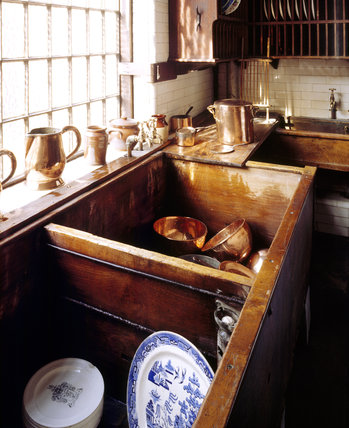 The sinks, made of teak and water resistant, in the Scullery at Tatton Park