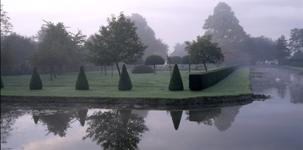 View of the Parterre, Westbury Court Garden, seen from the far side of the arms of the T-Canal